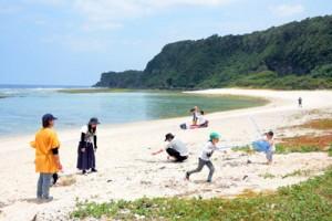 沖泊海浜公園付近の海辺で屋外レジャーを楽しむ人たち=29日、知名町