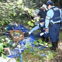 農業用廃プラスチック類などが不法投棄された現場を視察する関係者=29日、徳之島町大原