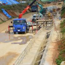事業完了まで残り2年を切った沖永良部島の地下ダム工事=4月28日、知名町屋者