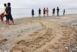 ②浜に残された足跡