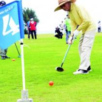 はつらつとプレーするGゴルフ大会の参加者=28日、知名町フローラルパーク