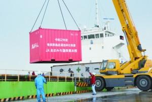 貨物船から降ろされるコンテナ=26日、与論町の茶花港