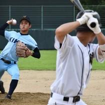 徳之島―喜界戦で開幕した2020県夏季高校野球大会の大島地区予選=8日、徳之島町の健康の森公園野球場