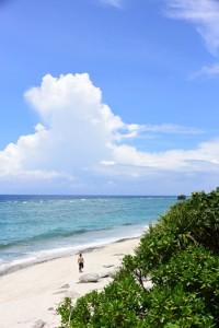 梅雨の晴れ間が広がった奄美地方=14日、奄美市名瀬の大浜海浜公園
