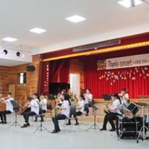 支えてくれた人々への感謝も込めた喜界高校吹奏楽部の「サンクスコンサート」=12日、喜界町休養村管理センター