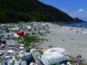多くの漂着ごみが散乱した砂浜=28日、奄美市名瀬(提供写真)