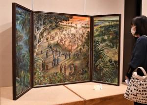 女流美術展で「豊年祭り」披露写真 丸山