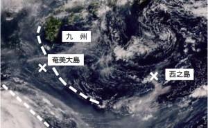 ②ひまわり黄砂監視画像のトゥルーカラー再現画像(8月2日午後2時現在、気象庁HPから引用し一部加工)
