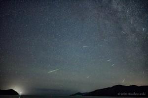 荒木さん撮影のペルセウス座流星群。12日22時22分~13日0時22分までの600枚の連続撮影写真から流れ星をピックアップし比較明暗合成した