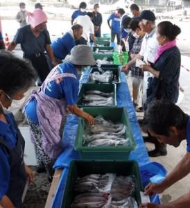 新鮮な海の幸を求める買い物客でにぎわったお魚祭り=9日、天城町平土野