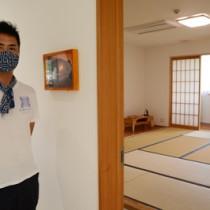 4日からサービスを開始する「荒波のやどり」内の宿泊スペース=龍郷町