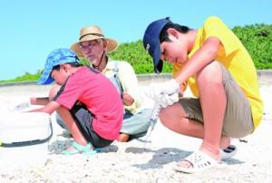 魚類調査のサンプルを作るため海水をろ過する参加者=4日、知名町大津勘