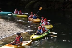 カヌー体験で国立公園のマングローブ林を堪能した児童ら=28日、奄美市住用町