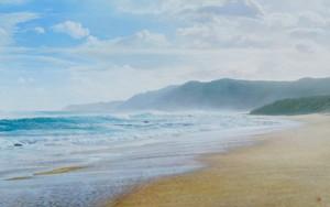 田中一村記念美術館賞に選ばれた中西優多朗さんの「龍郷の海」