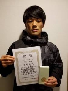 レスリング西日本学生選手権のフリースタイル74キロ級で優勝した早川選手=提供写真