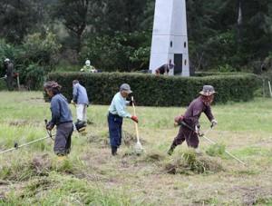 ボランティア清掃を行う参加者=15日、徳之島町山