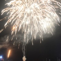 市集落の夜空に浮かび上がった大輪の花火=21日、奄美市住用町