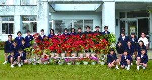 クリスマスを前に見頃を迎えた崎原小中学校のポインセチア(提供写真)