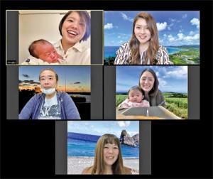 迫さんを交えたリモート取材の画像。牧岡さん、森田さんは赤ちゃんとともに参加