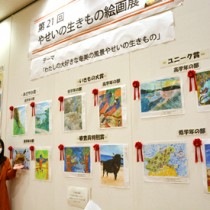 児童生徒の力作が並ぶ「やせいのいきもの絵画展」=19日、大和村