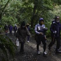 奄美トレイルの開通記念イベントでコースを歩く参加者=9日、龍郷町