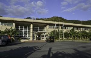 本場奄美大島紬協同組合の事務所がある奄美市産業支援センター=14日、奄美市名瀬