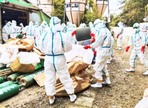 鳥インフルエンザが発生した養鶏場での防疫措置作業(県畜産課提供)