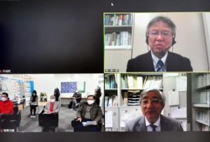 オンラインであった鹿大国際島嶼教育研究センターの公開講座(画面右上が講演した西教授)=18日