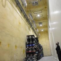 JAあまみ知名事業本部が整備したバレイショ種イモ用の予冷庫の内部=12日、知名町