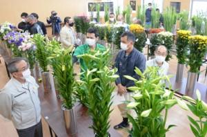 5部門111点を審査した切り花品評会=16日、和泊町