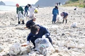 海岸で漂着ごみなどを回収するクリーンキャンペーン参加者=10日、龍郷町