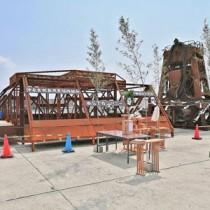 和泊町喜美留沖に設置するため、和泊漁港に置かれた人工漁礁(提供写真)
