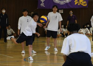 古北戦の3年男子ドッジボール=28日、奄美市の名瀬総合体育館